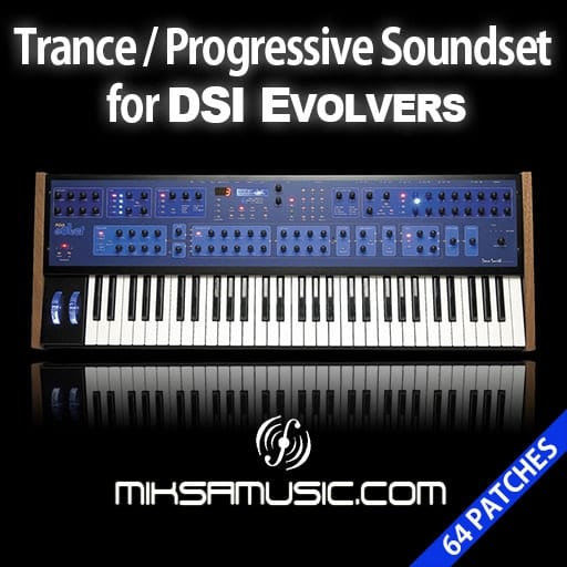 Cover of  Trance/Progressive Soundset for DSI Evolver synthesizers (Soundbank of 64 patches)